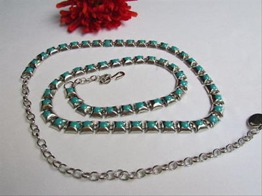 Other B Women Silver Blue Metal Thin Fashion Metal Chains Belt 35-45