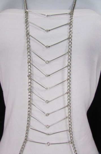 Other Women Style Silver Waves Metal Body Chain Front Necklace Hot Fashion Jewelry