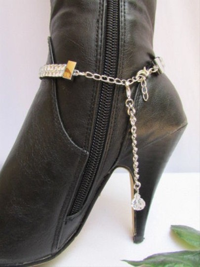 Other Women Rhinestones Starnd Chains Strap Cross Western Charm Silver Boots