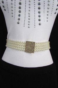 Other Women Waist Hip Ivory Cream Pearl Beads Fashion Belt Elastic 32-40