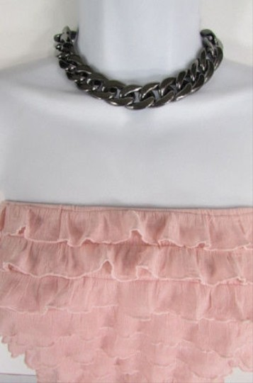 Other Women Pewter Gunmetal Lightweight Plastic Chunky Chain Thick Links Necklace