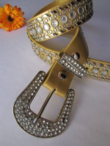 Other A Women Gold Faux Leather Western Belt Silver Rhinestones Buckle 29-34