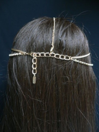 Other Women Gold Head Metal Chain Fashion Jewerly Long Side Rhinestones Strands