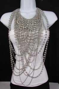 Women Necklacesilver Metal 25 Strands Beads Chains Long Fashion Jewelry