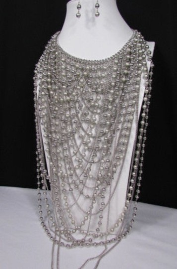 Other Women Necklacesilver Metal 25 Strands Beads Chains Long Fashion Jewelry