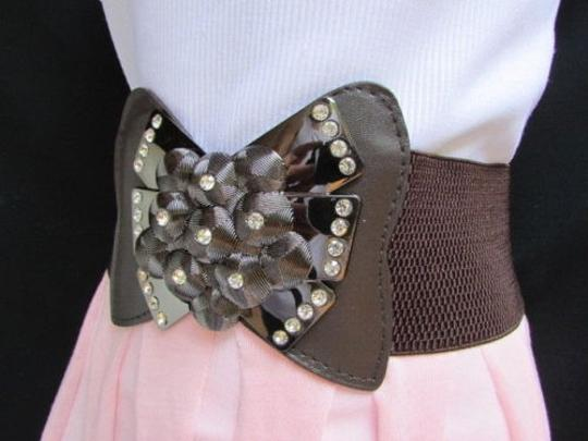 Other Women Waist Hip Brown Elastic Fashion Belt Big Pewter Bow Buckle 27-35