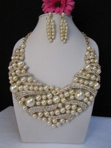Women Gold Metal Fashion Big Imitation Beads Necklace Rhinestones Earrings Set