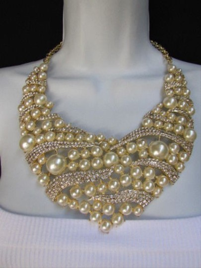 Other Women Gold Metal Fashion Big Imitation Beads Necklace Rhinestones Earrings Set