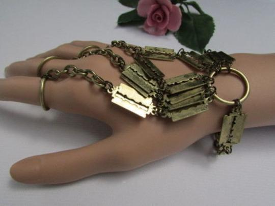 Other Women Bracelet Gold Metal Hand Chain Fashion Slave Finger Ring Shaving Razor