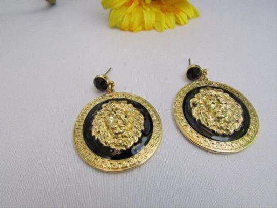 Other Women Fashion Gold Black Metal Earrings Big Round Lion Face Head Circles 3