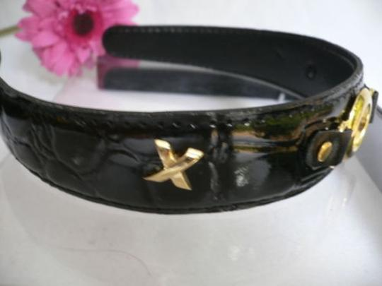 Other Women Black Faux Patent Leather Fashion Headband Gold Circle Link Side X X