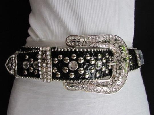 Other Women Black Leather Western Multi Mirrors Belt Rodeo Silver Buckle 33-38