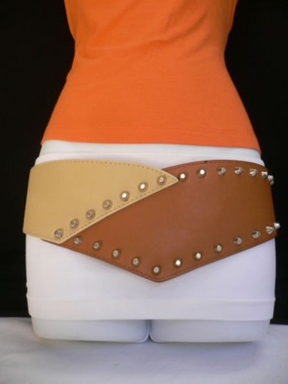 Other Women Belt Elastic Hip Waist Wide Western Brown Beige Studs Spikes