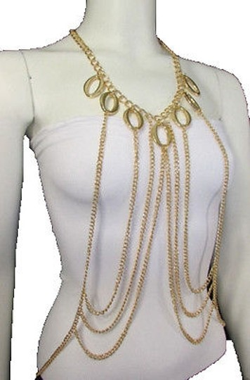 Other Women Gold Multi Crossing Over Chains Waves Metal Body Jewelry Long Necklace