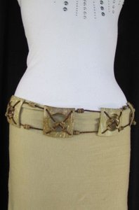 Other Women Beige Brown Fashion Tie Belt Hip Waist Coconut Shell 31-36