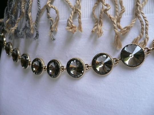 Other Women Gold Chain Fashion Thin Metal Belt Big Gray Crystals 25-38