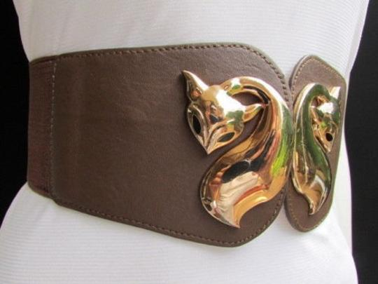 Other N. Women High Waist Hip Brown Elastic Fashion Belt Fox Gold Buckle 28-38