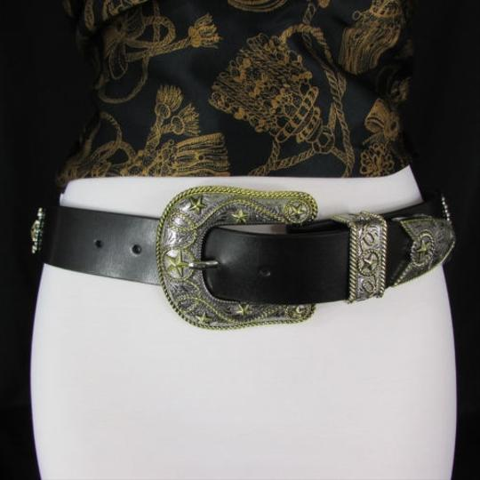 Other Women Belt Black Leather Western Fashion Texas Big Star Rodeo Buckle Sm Ml