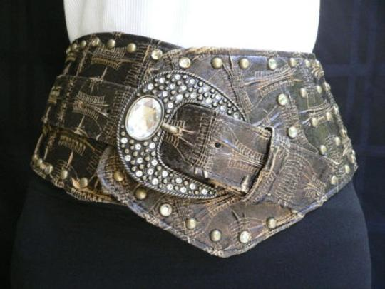 Other Women Wide Dark Brown Western Plus Belt Silver Rhinestones 36- 40 Lxl
