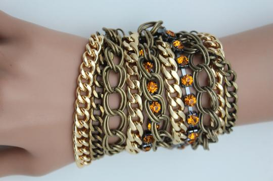 Other Women Bracelet Antique Dark Vintage Gold Metal Chains Links Orange Rhinestones