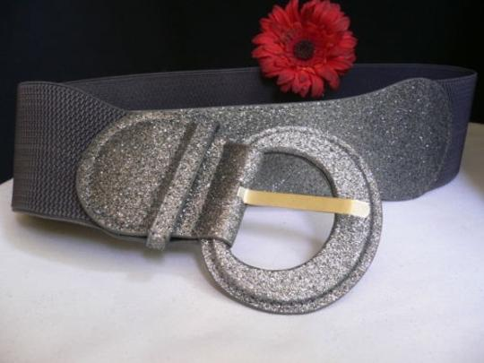 Other Women Belt Fashion Hip Elastic Waist Sparkling Gray Silver 32-44 M-l-xl