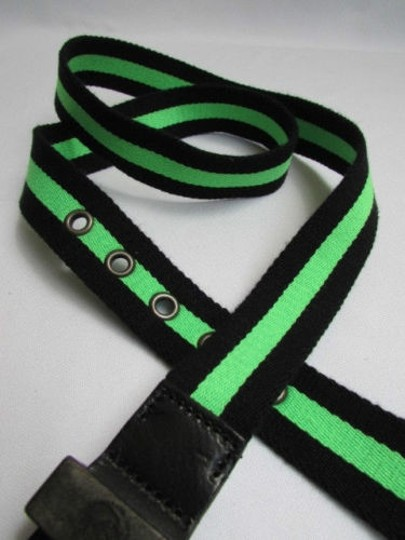 Diesel Diesel Women Fashion Black B. Green Fabric Fbtape Belt 34-38 100cm
