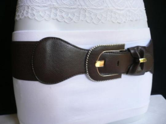Other Women Belt Fashion Elastic Hip Waist Dark Brown Bow Silver Bockle 28-38