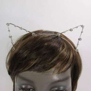 Women Head Band Silver Metal Fashion Ears Silver Rhinestones Beads