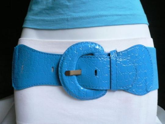 Other Women Belt Hip Elastic High Waist Bright Sky Blue Elastic Croco Xs-s-m-l-xl