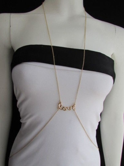 Other Women Gold Trendy Body Chain Love Pendant Casual Jewerlry Long Trendy Necklace