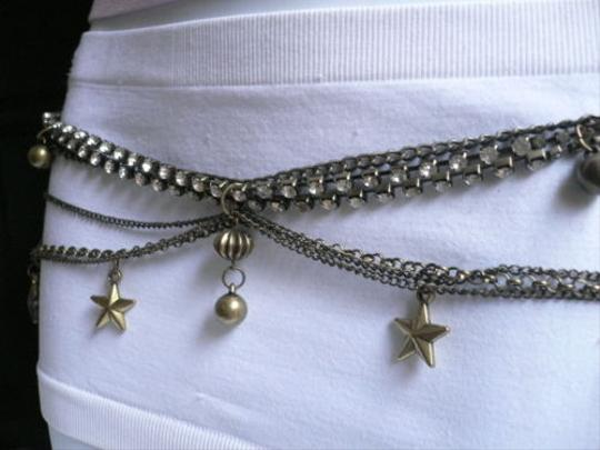 Other B Women Antique Gold Metal Chains Multi Stars Balls Belt Rhinetsones