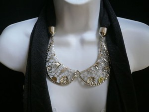 Women Scarf Necklace Black Fashion Silver Metal Flowers Collar Pendant Wrap