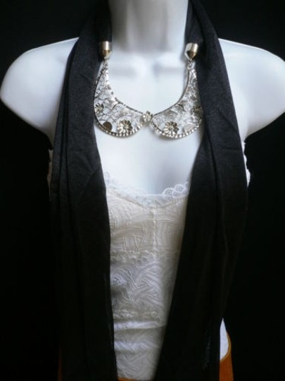 Other Women Scarf Necklace Black Fashion Silver Metal Flowers Collar Pendant Wrap