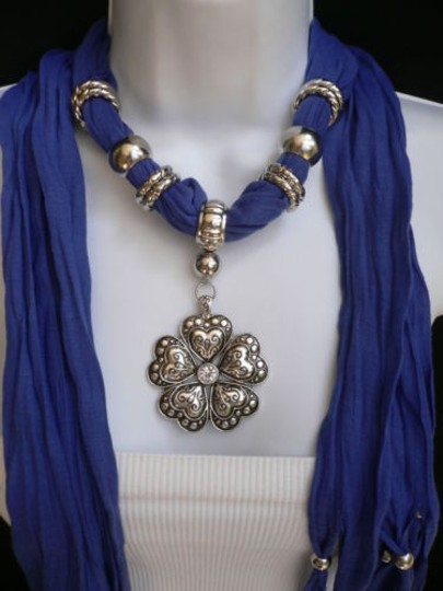 Other Women Scarf Necklace Blue Fashion Soft Heart Flower Silver Bead Pendant