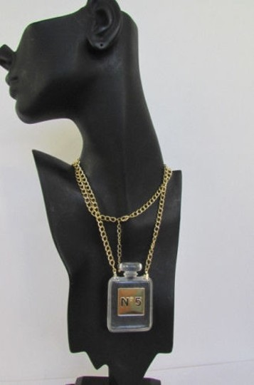 Other Women Gold Chain Fashion Necklace Clear Plastic Perfume Bottle No Pendant