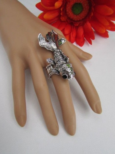 Other Women Ring Silver Metal Fish Elastic Pisces Horoscope Shiny Rhinestones