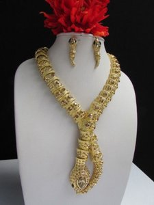 Women Wide Gold Necklace Earring Set Long Snake Black Eye Orange Rhinestones