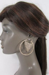 Other Women Gold Metal Hoops Fashion Earrings Set Multi Silver Rhinestones Hook