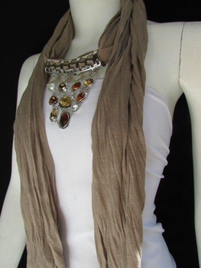 Other Women Scarf Necklacetaupe Brown Soft Fabric Silver Triangle Pendant Big Beads