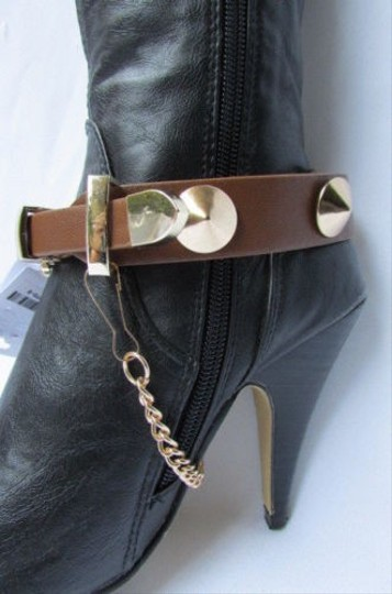 Other Bracelet Anklet Gold Chain Faux Strap Spikes Western Ankle Brown Boots