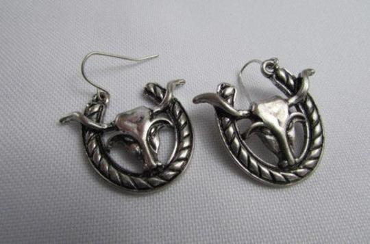 Other Women Earrings Set Silver Metal Western Fashion Big Bull Horseshoe Hook Loop