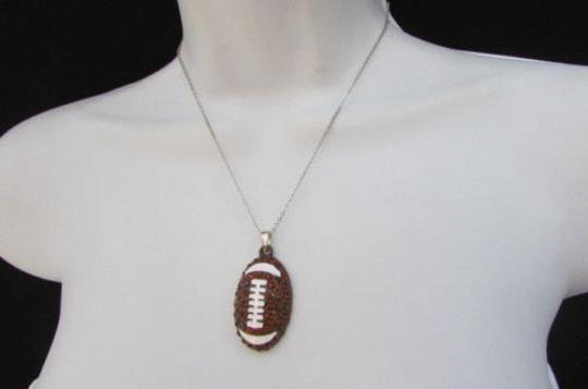 Other Women Necklace Silver 10 Drop Long Fashion Chain Big Football Ball Pendant