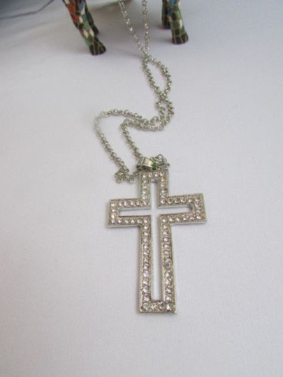 Other Wester Women Necklace Big Cross Silver Metal Fashion Pendant Rhinestones 15