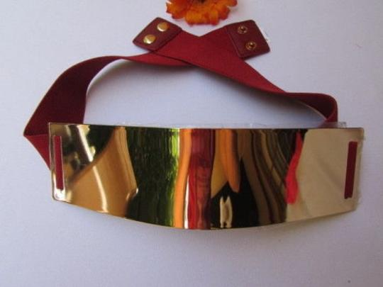Other Women Belt Waist Gold Metal Plate Fashion B. Red Elastic 34-45