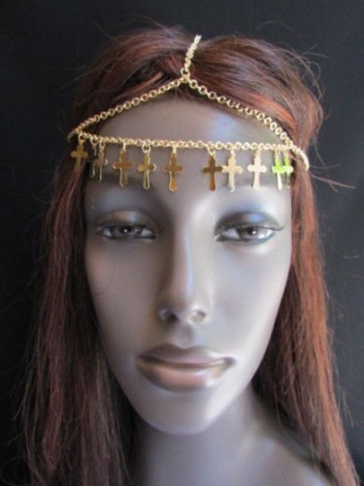 Other Women Chain Multi Crosses Gold Head Metal Fashion Jewelry Front Strand