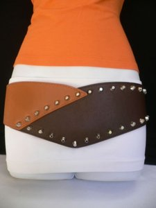 Other Women Belt Elastic Hip Waist Brown Western Silver Big Spikes Mocha Color