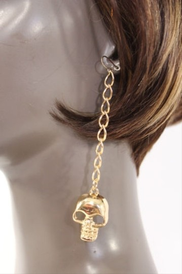 Other Women Earrings Set Gold Long Metal Chains Big Skulls Hip Hop Fashion Hook