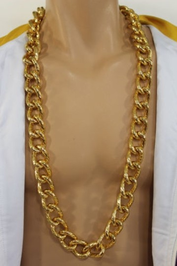 Other Men Chunky Metal Thick Chain Links Heavy Long Fashion Necklace Gold Hip Hop