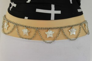 Other Women Belt Hip Waist Silver Metal Chain Seashells Star Charms Fashion