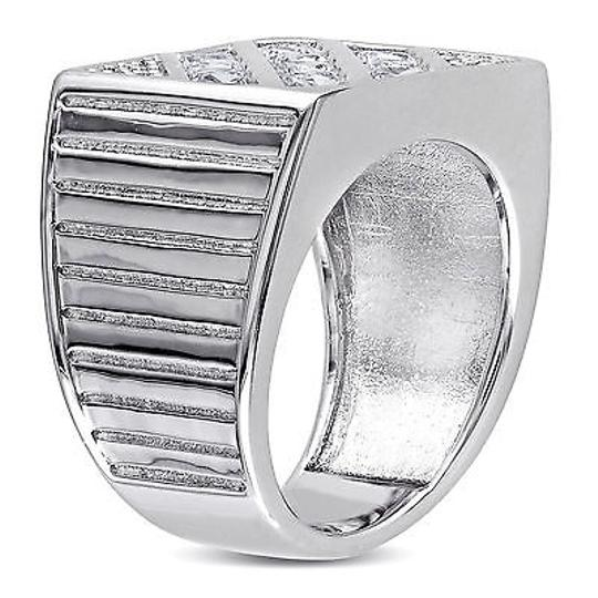 Amour Sterling Silver Created White Sapphire Mens Cocktail Ring